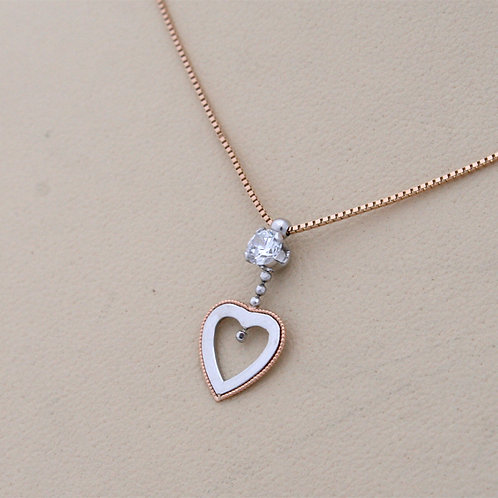 GOLD Necklace14ck Rose and White Gold , Heart Design with Cubic Zirconia