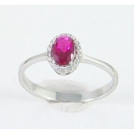GOLD RING 14CK WHITE Gold with  Fancy Cubic Zirconia in Brilliant Round Cut