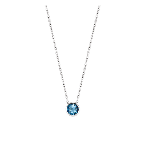 Ti Sento Necklace with a brilliant-cut dark blue round Crystal stone