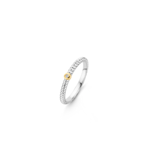 Ti Sento Ring with white zirconia and yelllow gold casting