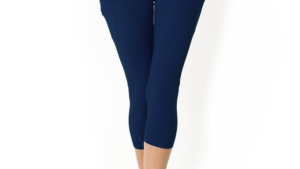 High Waisted Yoga Capri Leggings - Navy Blue