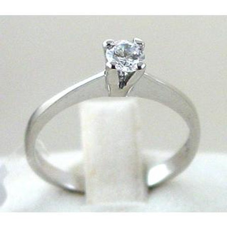 GOLD RING 14CKWhite Gold with Cubic Zirconia in Brilliant Round Cut