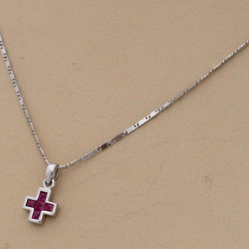 GOLD CROSS 18ck  White Gold with Ruby in Princess Cut