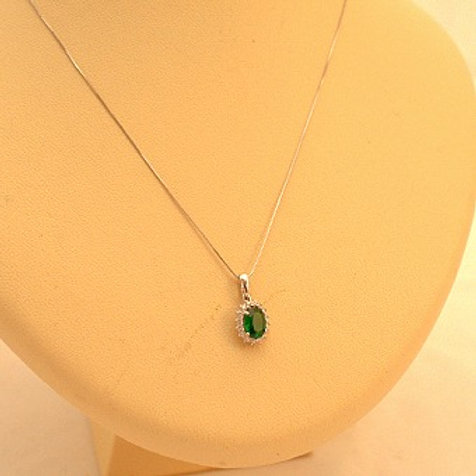 GOLD Necklace 14ck White Gold with Emerald in Brilliant Round Cut