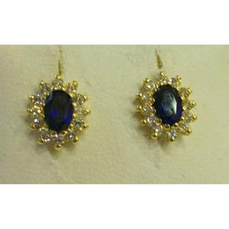 GOLD EARRINGS 14ckYellow Gold with Fancy  Blue  Stones in Brilliant Round Cut