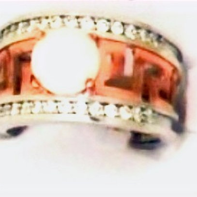 GREEK KEY DESIGN MEANDROS  White And Rose Sterling Silver Ring with Opal Stone