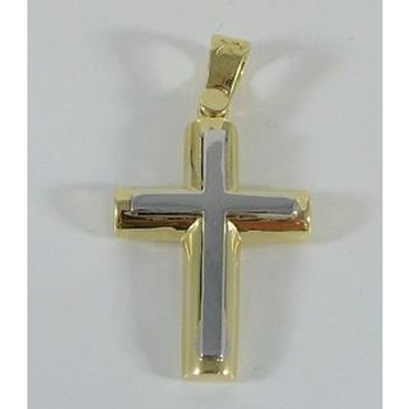 GOLD CROSS 14ck Gold Two-Tone White And Yellow Gold