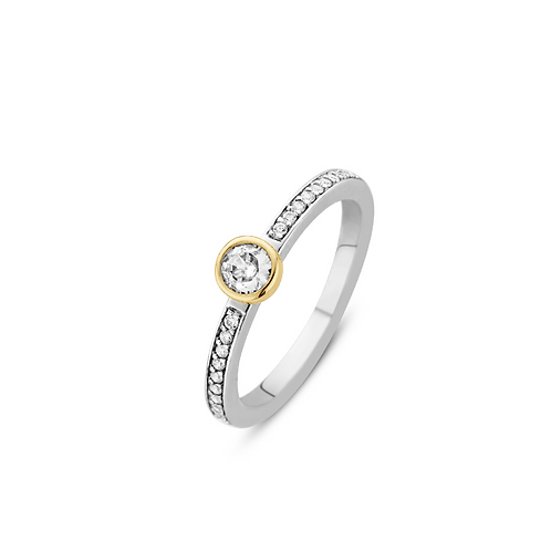 Ti Sento Ring  White zirconia , crafted with silver Yellow Gold plated