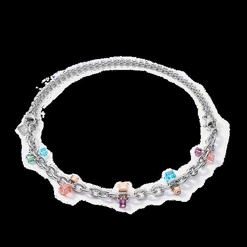 COEUR DE LION Necklace casual & chunky chain  & Swarovski® Crystals silver-multI