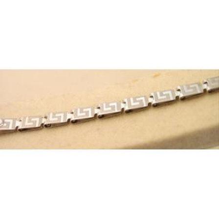 GOLD GREEK KEY Meandros Bracelet 14ck White Gold