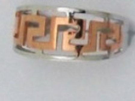 GREEK KEY DESIGN MEANDROS  Rose & White Sterling Silver Ring
