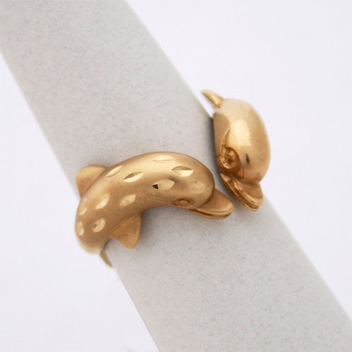 GOLD DOLPHINS RING 14CK Gold with Matt Finish