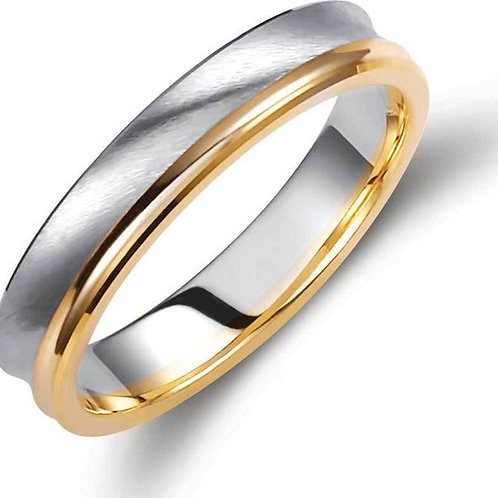 Wedding Band 14ck White &Yellow  Gold  Two-Tone with Matt-Finish Teqnique