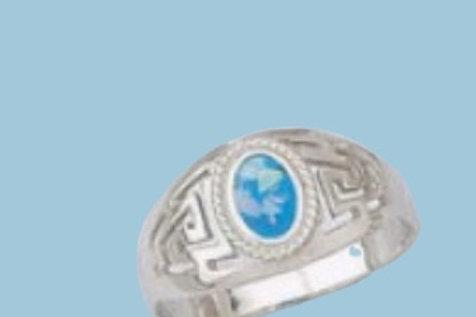 GREEK KEY DESIGN MEANDROS 14ck  Sterling Silver Ring