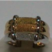 GOLD RING 18CK White,Yellow & Rose Gold with Sand Blasted Cartier Style