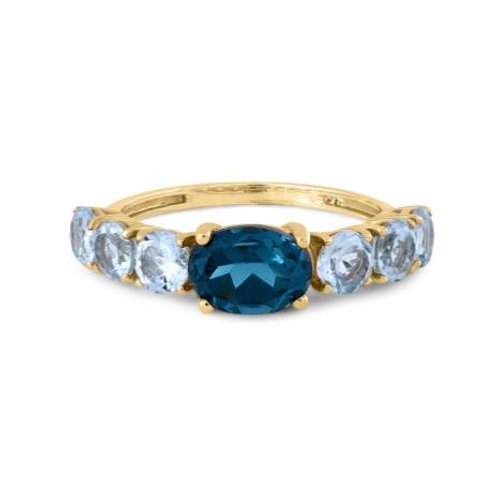 GOLD RING 14CK Yelllow Gold with London Blue Topaz and Aquamarine Stones