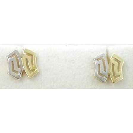 GREEK KEY DESIGN MEANDROS 14ck  YELLOW&WHITE GOLD Earrings