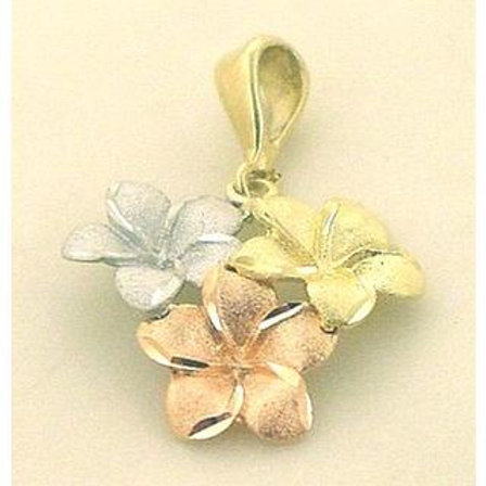 Gold Pendant 14ck Gold White,Yellow&Rose Gold Flower Design with Matt Finish