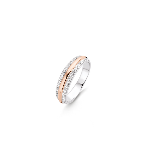 Ti Sento Ring with rose-gold plating surrounded by white zirconia pavé