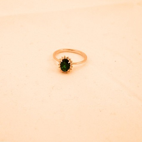 GOLD RING 14CK Gold WHITE Gold With Emerald Stone in Brilliant Round Cut