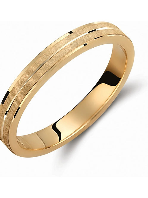 Wedding Band 14CK Gold Yellow Gold with Sand Blasted, Matt-finish Techinque