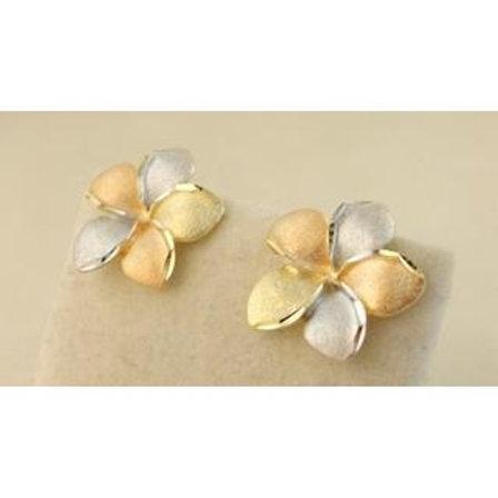 GOLD EARRINGS 14CK Gold FLOWER DESIGN ,WHITE, YELLOW & ROSE Gold