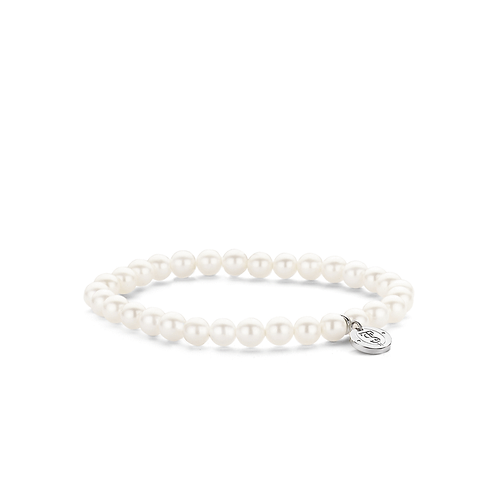 Ti Sento Bracelet with white pearls which are neatly strung in elasticated band