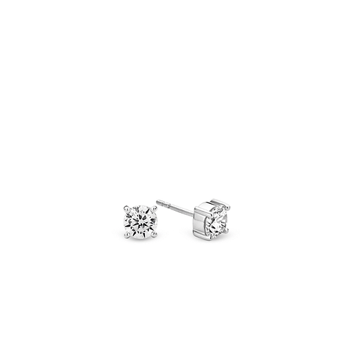 Ti Sento Stud Earrings with rhodium plated sterling silver & 6mm white zirconia