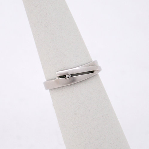 HANDMADE 14ct WHITE GOLD RING WITH 0.01 BRILLIANT ROUND CUT DIAMOND