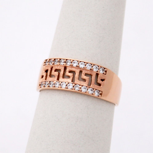 GREEK KEY DESIGN MEANDROS 14ck  ROSE  GOLD Ring With  Cubic Zirconia