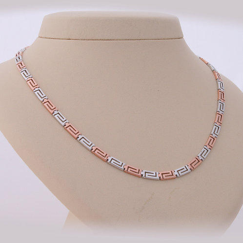 GREEK KEY DESIGN MEANDROS TWO TONE WHITE AND ROSE STERLING SILVER NECKLACE