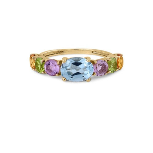 Gold RIng 14ck Yellow Gold with Aquamarine, Amethysts, Peridots & Citrins Stones
