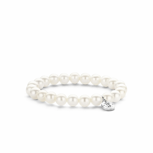 Ti Sento Bracelet  Shell Pearls with colour White  in elasticated band
