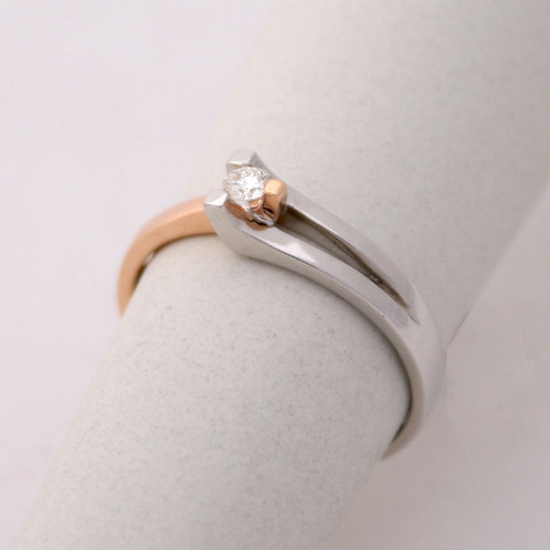 GOLD RING Solitaire18ck Gold with Diamond B0.09 in Brilliant Round Cut