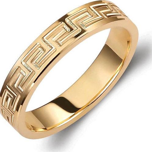 Wedding Band 14ck Yellow Gold with Greek Key Design