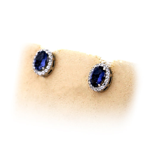 GOLD EARRINGS 14CK WHITE Gold with BLUE  IOLITE Stone in Brilliant Round Cut