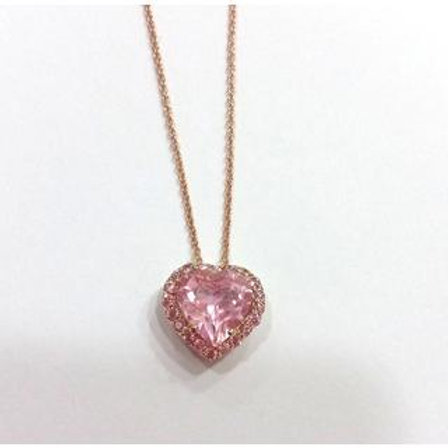 GOLD Necklace 14ck Rose  Gold with Fancy Color Cubic Zirconia