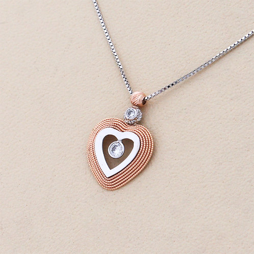 GOLD Necklace14ck Rose Gold Heart Design Matt Finish with Cubic Zirconia