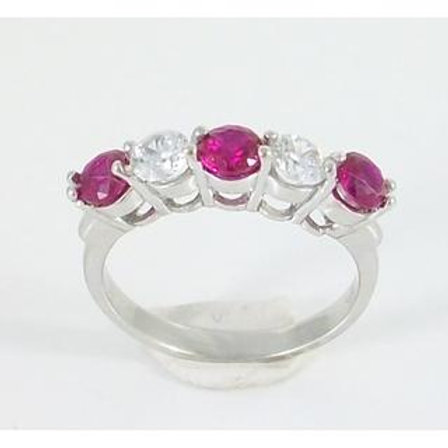 GOLD RING 14CK WHITE Gold with Fancy Color Cubic Zirconia in Brilliant Round Cut