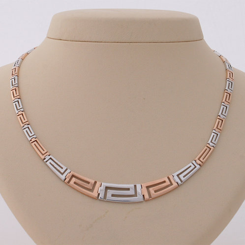 GREEK KEY DESIGN MEANDROS TWO TONE STERLING SILVER NECKLACE