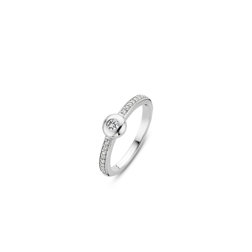 Ti Sento Ring with  a  round setting  and briliant cut Zirconias