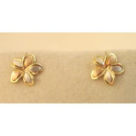 GOLD EARRINGS 14CK Gold FLOWER DESIGN ,WHITE, YELLOW & ROSE Gold
