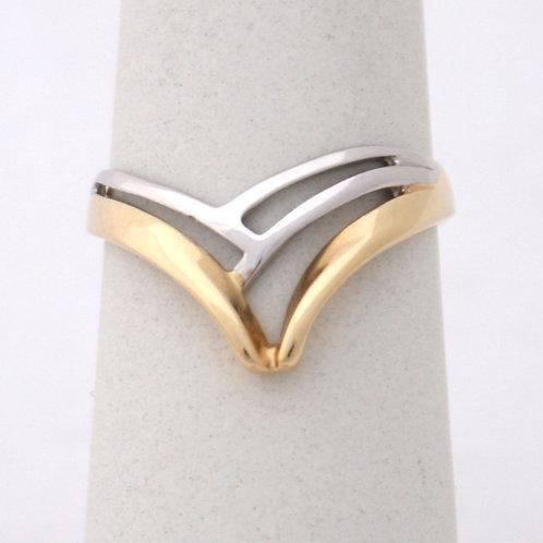 HANDMADE 14ct WHITE & YELLOW GOLD WISH BONE RING