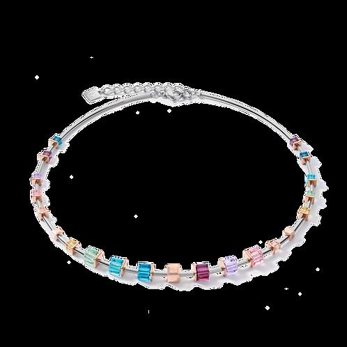 COEUR de Lion Necklace GeoCUBE® Swarovski® Crystals  rose gold-silver multicolor