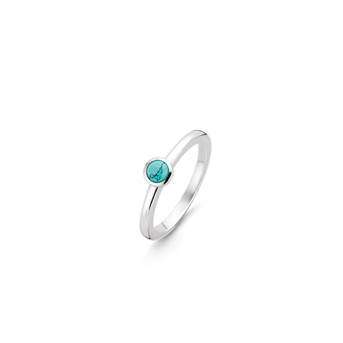 Ti Sento Ring with  a turquoise round stone  playful & fresh