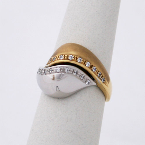 GOLD RING 14CK Gold TWO TONE with Cubic Zirconia in Brilliant Round Cut