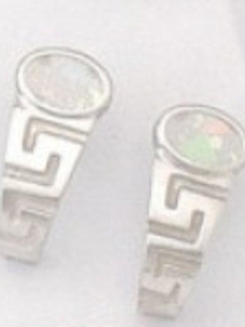 GREEK KEY DESIGN MEANDROS  Sterling Silver Earrigns with Natural White Opal