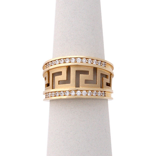 GREEK KEY DESIGN MEANDROS 14ck  YELLOW GOLD Ring With Cubic Zirconia