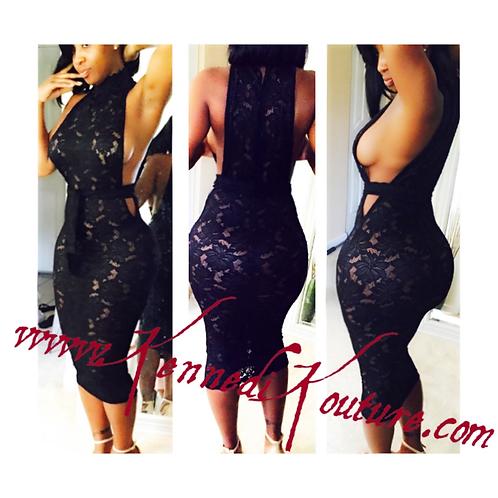 CUSTOM BLACK LACE LOW CUT SIDE DRESS