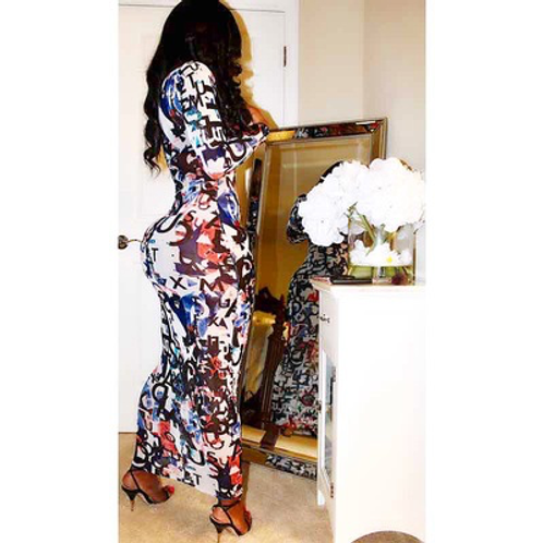 """CUSTOM """"TONI"""" SHEER FITTED MAXI DRESS/COVER UP"""